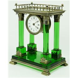 FRENCH STERLING & EMERALD CRYSTAL MANTLE CLOCK