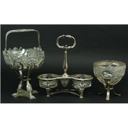 3 STERLING SILVER BASKETS WITH GLASS INSERTS