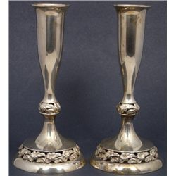 PAIR OF MUECK CAREY STERLING SILVER CANDLESTICKS