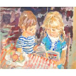 JEAN EVEN OIL PAINTING ON CANVAS OF BOY & GIRL