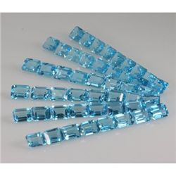 Natural Blue Topaz Emerald Cut 7x9mm 148.09ctw