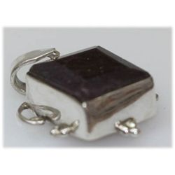 Natural 36.00 Ctw Ruby Square Pendant .925 Sterling
