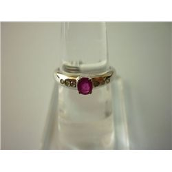10.50 CTW RUBY AND DIAMOND RING .925 STERLING SILVER