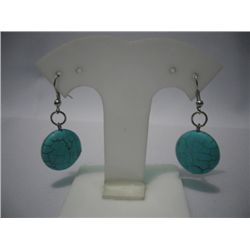 ROUND BLUE TURQUISE DANGLING EARRINGS