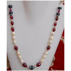 Natural 190.55 ctw Ruby/Sapphire Pearl Necklace. 925 St