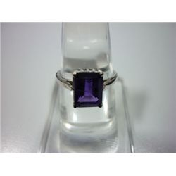 NATURAL 11.50 CTW  AMETHYST RING .925 STERLING SILVER