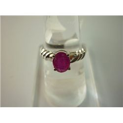 15.25 CTW RUBY RING .925 STERLING SILVER