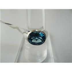 29.00 CTW BLUE TOPAZ RING .925 STERLING SILVER