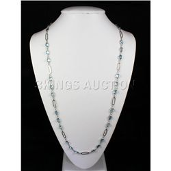 118.92CTW Blue Zircon in Figaro Box Silver Chain