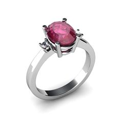 Ruby 2.20 ctw Diamond Ring 14kt White Gold