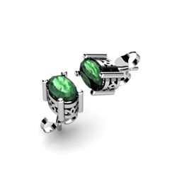 Emerald 1.04ctw Earring 14kt White Gold