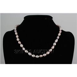 """184.7CTW 18"""" LAVENDER FRESHWATER PEARL NECKLACE METAL L"""