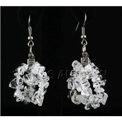 47.16CTW 2in. CRYSTAL CLEAR CHIPPED STONE HOOK EARRING