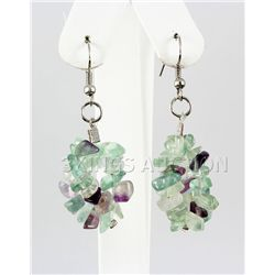 59.80CTW 2in. PURPLE GREEN CHIPPED STONE HOOK EARRING