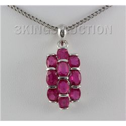 20.66CTW Pink Ruby Cluster Design Silver Pendant