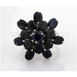 Natural Sapphire 30.80CTW Silver Flower Ring