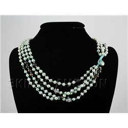 451.59CTW 19in. AQUAMARINE FRESHWATER PEARL NECKLACE