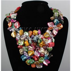 """1600CTW 16"""" MULTICOLOR MOTHER OF PEARL NECKLACE METAL L"""