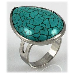 Natural 32.77ctw Pear Shape Turquoise Silver Ring