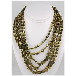 660.00ctw Mother of Pearl Beads 6Rows Necklace, 11inch