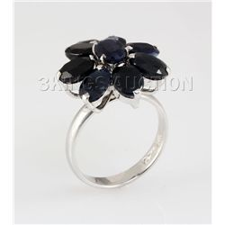 Natural Sapphire 29.79CTW Silver Flower Ring
