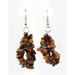 84.23CTW 2in. TIGER EYE CHIPPED STONE HOOK EARRING