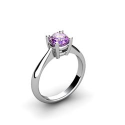 Amethyst 0.70ctw Ring 14kt White Gold
