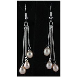 Natural 4.61g Freshwater Dangling Silver Earring