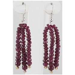 36.52ct 3 Row Faceted Ruby Silver Hook Earring