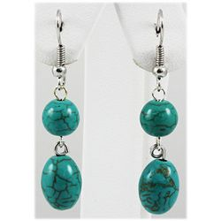 Natural 19.78ctw Turquoise Silver Dangling Earring