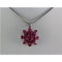 27.34CTW Flower Cluster Pink Ruby Silver Pendant