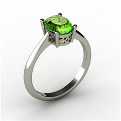Peridot 1.35 ctw Ring 14kt White Gold