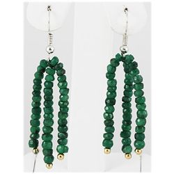 32.93ct 3 Row Natural Emerald Silver Hook Earring