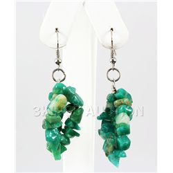 63.02CTW 2in. GREEN TURQUOISE CHIPPED STONE HOOK EARRIN