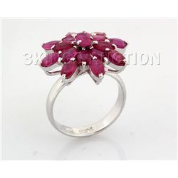 25.36CTW Flower Cluster Pink Ruby Silver Ring