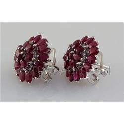 32.27CTW Ruby Flower Design Silver Earring