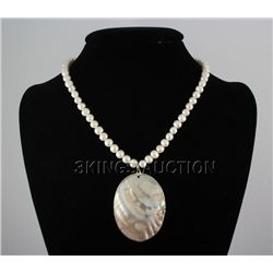"220.7CTW 18"" WHITE FRESHWATER CAPIZ PENDANT/MOTHER OF P"