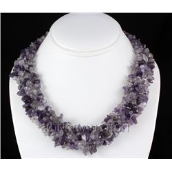"661CTW 18"" AMETHYST CHIPPED STONE NECKLACE METAL LOCK P"