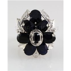 Natural Sapphire 46.97CTW Silver Flower Ring