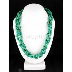 767.50CTW 23in. GREEN TURQUOISE CHIPPED STONE NECKLACE