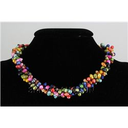 "18"" MULTICOLOR RICE PEARL NECKLACE METAL LOCK PHILIPPIN"
