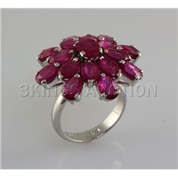 40.68CTW Flower Cluster Pink Ruby Silver Ring