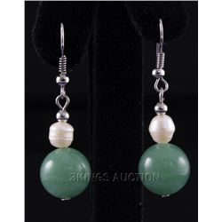 31.09CTW GREEN FRESHWATER PEARL WITH CORAL EARRING PHIL