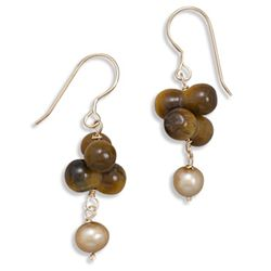 14/20 Gold Filled Tiger's Eye and Cultured Freshwater Pearl French Wire Earrings