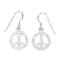 Polished Peace Symbol French Wire Earrings