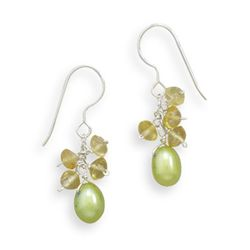 Green Cultured Freshwater Pearl and Citrine French Wire Earrings