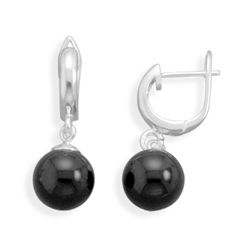 Black Agate Hinged Hoops