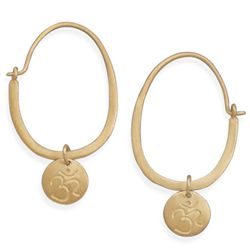 14 Karat Gold Plated Hoop with Om Tag Earrings