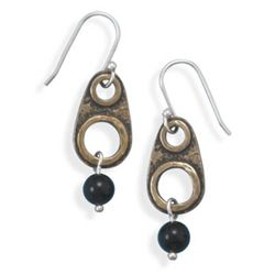 Brass and Black Onyx Drop Earrings