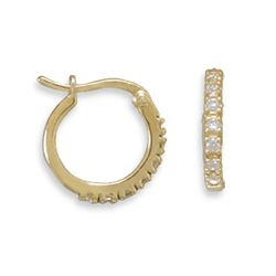 14 Karat Gold Plated CZ Hoops